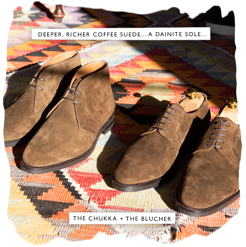 the chukka + the blucher, in a deeper, richer coffee suede