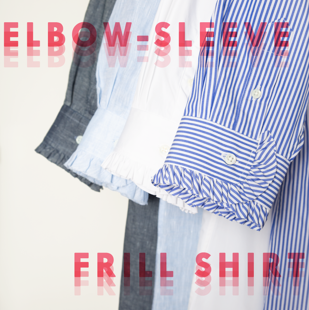 elbow-sleeve frill shirt